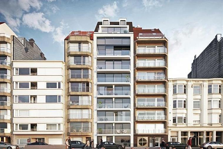 Nieuwbouwresidentie, gelegen op de Zeedijk in Knokke tussen het Rubensplein en het Van Bunnenplein. Te koop: 1 gelijkvloersappatement met 2 slaapkamers en een groot terras achteraan, 1 type-appartement met 2 slaapkamers en 2 terrassen en 2 Mezzanine-appartementen met 3 slaapkamers en 2 terrassen. De appartementen genieten een panoramisch zeezicht ! Kelderbergingen voorzien en mogelijkheid tot aankoop parking in de residentie. Meer info op kantoor.