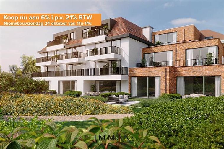 KOM DIT PROJECT ONTDEKKEN TIJDENS NIEUWBOUWZONDAG OP 24 OKTOBER 2021 TUSSEN 11 UUR EN 14 UUR   Residentie Sepp, een nieuw en modern project gelegen langs de Dudzeelse Steenweg. De residentie omvat 16 appartementen en 1 woning, en bieden één voor één zicht op de rustgevende, gemeenschappelijke tuin. Dit complex wordt opgebouwd met oog voor duurzaam wonen met een E-peil van max. 35. Mits aankoop van zonnepanelen kan dit E-peil verder zakken naar E30 of E20. Bijkomend voordeel bij de zonnepanelen is de vrijstelling op onroerende voorheffing voor een termijn van 5 jaar.  Ieder appartement beschikt over een ruim privaat terras en een private kelder.  Vanaf 2021 is een verlaagd btw-stelsel van 6% van kracht voor nieuwbouwappartementen gebouwd op een terrein waar de oude bewoning werd afgebroken. Wie nu nog een nieuwbouwappartement koopt met bouwvergunning 2020 kan nog van deze regel genieten tot eind december 2022. Dit onder voorwaarde dat u zelf de woning betrekt, en er minstens 5 jaar blijft wonen.  In de kelderverdieping vinden we een ruime garage dat plaats biedt voor 22 auto's alsook een gemeenschappelijke fietsenberging. Bij iedere aankoop van een appartement of woning is er een verplichte aankoop van een garage gekoppeld.  De nabijheid van winkels, horeca en uitvalswegen in combinatie met energiezuinig wonen maken van dit project de ideale investering! Voor verdere informatie of plannen en gedetailleerd lastenboek contacteer Vincent op 050 62 44 14 - 0470 01 36 13 of mail naar Brugge@immax.be.
